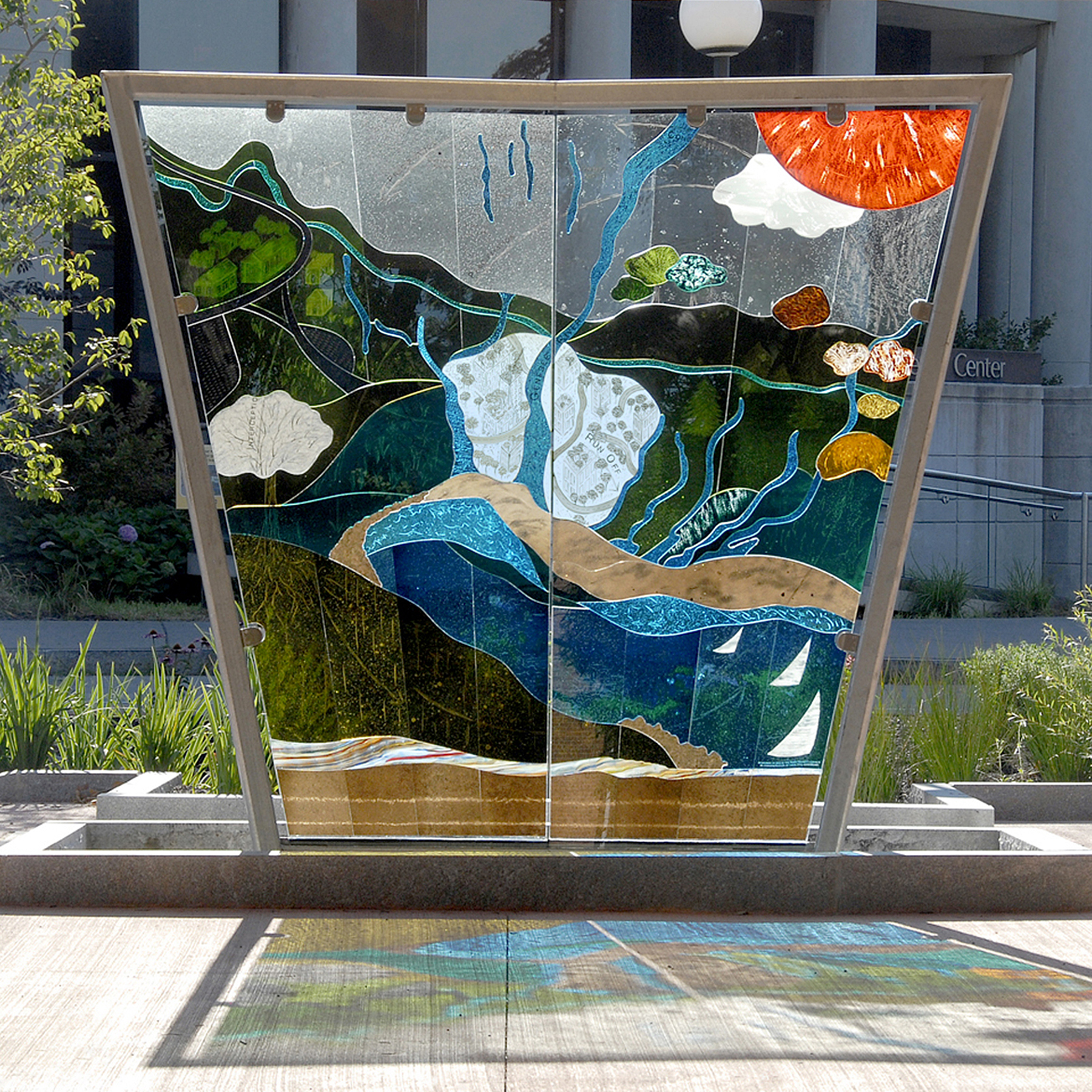 "Nancy Gong Art Glass ""Genesee River Watershed"""